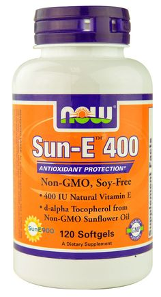 NOW Foods Sun-E™ 400--wheat-free, soy-free vitamin E. (Most vitamin E supplements are made from wheat germ or soybean)