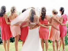 different shades of pink/coral dresses (photography by http://wendylaurel.com | planning by http://belledestinationevents.com)