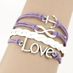 Purple Love Infinity Bracelet This fashionable Multi Strand Infinity Bracelet is the perfect accessory for any outfit and would make the perfect gift for friends and family or an extra special treat for yourself! – Multi strand bracelet attached with a metal clasp