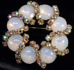 Wreath Brooch Vintage White Circle Pin by RagsAndRhinestones, $9.50