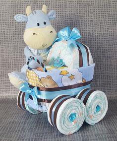 Windeltorte - ♥Windelkinderwagen mit süßer Kuh♥