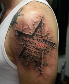 When it comes to tattoos, do opt for awesome realistic designs that still have significance to you. This man has chosen to incorporate the things that mean the most to him, but in an unconventional way. His tattoo design brings a whole new meaning to the traditional quote tattoo, and instead presents an extremely realistic and almost 3-dimensional effect. Too cool! via http://memesinblack.com/