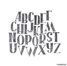 """Download the royalty-free vector """"English hand drawn abc from a to z. Capital font made with nib and serif, decorated hatch alphabet, painted freehand. Isolated on background vector illustration. Letter made in classical hatched style"""" designed by yokunen at the lowest price on Fotolia.com. Browse our cheap image bank online to find the perfect stock vector for your marketing projects!"""