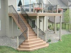 Image result for 10x10 deck with stairs with landing flare stairs