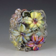 Leopard Blooms  1 bead borosilicate/boro Kristan by redsidedesigns, $30.00