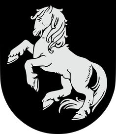 Coat of arms of Ilūkste, Latvia Medieval Shields, Crests, Coat Of Arms, Flag, Symbols, Places, Books, Design, Flags
