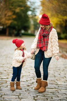 Mommy & Me in Pom Pom Heart Cardigans Paired with Plaid + Last Minute Gifts on Prime Mother Daughter Matching Outfits, Mother Daughter Fashion, Mommy And Me Outfits, Toddler Girl Outfits, Kids Outfits, Mommy Daughter Pictures, Mother Daughters, Family Christmas Outfits, Christmas Pictures Outfits