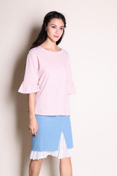 Basic Bell Sleeve Top (Pink) SGD$ 28.00