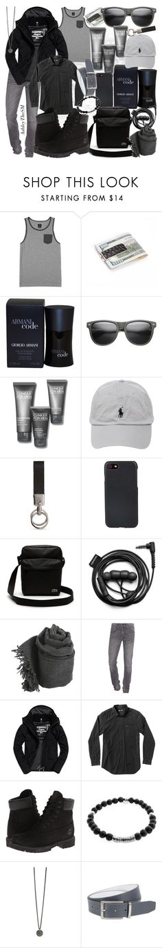 """""""Monochrome Men"""" by ashleythesm ❤ liked on Polyvore featuring RVCA, Giorgio Armani, ZeroUV, Clinique, Polo Ralph Lauren, Tod's, Shinola, Lacoste, Forever 21 and True Religion"""