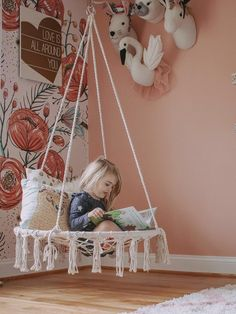 Crafted with a chic cross-weave pattern and flowy hanging fringe tassels that are sure to complement other decor in your home for added style Macrame Hanging Chair, Hanging Hammock Chair, Swinging Chair, Chair Swing, Cat Hammock, Macrame Art, Snuggle Nest, Baby Car Mirror, Wall Hanging Crafts