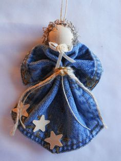 Wood Star & Gold Levi Angel Ornament Denim Pocket Christmas Wreath Handmade