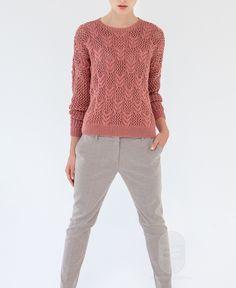 """Люди вяжут: Вяжем: Пуловер. """"Пуловер, связанный ажурным узором"""" с подробной инструкцией на сайте peopleknit.ru."""