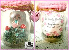 """"""" A fairy for your inspiration"""" - Little Fairy in her garden. Mixedmedia sculpture in bright colors - Several models - Each one is thematic and presented in a sealed glass jar (with lock and key), her garden has the right elements to her topic. It comes with a descriptive label.  . #fairy_gardens - #fairies -  #jardín_de_hadas #gnome_houses  - #casas_de_duendes"""