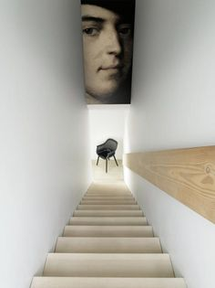 The Design Walker • Narrow stairwel - put photo wallpaper up on blind...