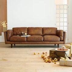Brooklyn Salon Canapé Places Fixe En Cuir De Vachette Canapés En - Canapé 3 places pour deco interieur maison bois