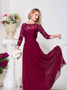 Bridesmaid Marsala Dress Lace Burgundy Wedding Dress by Dioriss