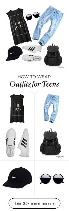 """the1975"" by deboraaguirregoncalves on Polyvore featuring adidas, NIKE, bandtshirt and bandtee"