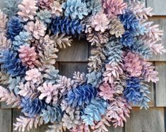 Pinecone Wreath Natural Brown Ocean Greens by scarletsmile