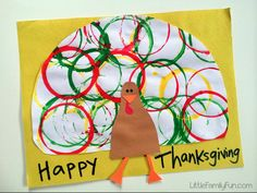 Stamp Art Turkey Painting- easy turkey craft for kids to make for Thanksgiving! Perfect for preschoolers.