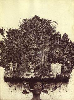 Surreal Albin Brunovsky engraving