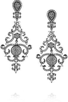 Kenneth Jay Lane Rhodium-plated cubic zirconia earrings  | NET-A-PORTER