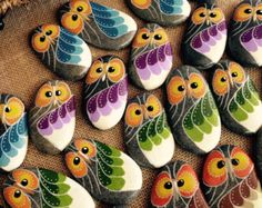handpainted river rock stones owls by HomeGrownRockSolid on Etsy