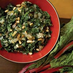 Swiss Chard with pine nuts and golden raisins via farmflavor.com