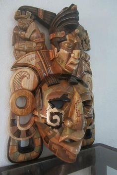 Giant Mayan Mask Of Kinich Janaab Pakal Color by FantasticAztec, $369.00