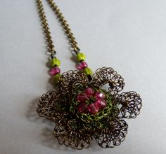 Hand Crochet Vintage Bronze Flower  Necklace by by PrayerMonkey, $22.00