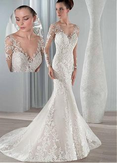 Buy discount Alluring Tulle Bateau Neckline Mermaid Wedding Dresses with Lace Appliques at Dressilyme.com