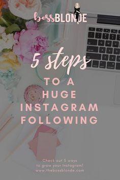5 Ways To Grow Your #Instagram Fast! // The Boss Blonde -- #socialmedia Social Media Marketing, Social Media Tips, Content Marketing, Affiliate Marketing, Digital Marketing, Make Money Blogging, How To Make Money, Business Tips, Business Essentials