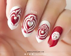 Water Marble Heart Nails Tutorial by @alpsnailart #redmani  #nailblogger Download #beautyapp - bellashoot to see more!