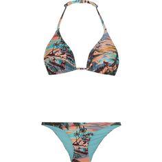 Orlebar Brown Nicola and Barletta printed triangle bikini (3660 TWD) ❤ liked on Polyvore featuring swimwear, bikinis, pink, bikini two piece, pink swimwear, ruched swimwear, multicolor bikini and triangle bikini swimwear