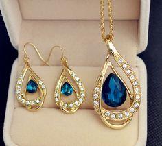 Barato Banhado a ouro jóias colar de cristal brinco para mulheres senhoras S701, Compro Qualidade Tintas de impressão diretamente de fornecedores da China:                                       Caro cliente
