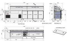 Réalisation d'un comptoir réfrigérée sur mesure pour la préparation et la vente de sandwichs à la demande. Contruction de qualité tout inox AISI 304. Cet agencement se compose comme suit :  1 caisse + logement du tiroir automatique 1 cuve réfrigérée encastrable à fond variable 6 bacs à sauces réfrigérés 1 cuve froide sur 4 portes de réserve ventilée en GN 1/1 1 plateau arrière de découpe Vitrage / lumière / décor / plinthe inox 1 plonge sur mesure et desserte réfrigérée 4 por...