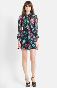 Saint Laurent Flower Print Silk Georgette Dress available at #Nordstrom