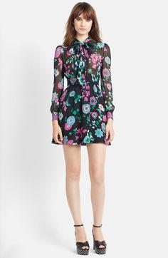 Saint Laurent Flower Print Silk Georgette Dress available at #Nordstrom