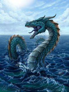 What type of dragon are you? - Are you a Hydrophius (water dragon) ? Water Dragon, Sea Dragon, Mythical Sea Creatures, Types Of Dragons, Manga Dragon, Fantasy Literature, Dragon Cross Stitch, Sea Serpent, Dragon Artwork