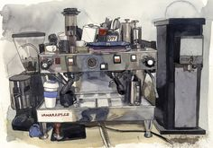 ARCHatlas Coffee Illustration, Watercolor Illustration, Watercolor Paintings, Gouache Painting, Watercolour, Moleskine Sketchbook, Sketchbooks, Anime Coffee, Coffee Artwork