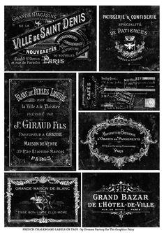 Vintage Labels French Printable Chalkboard Labels or Tags - Free! - Grab these Free Printable Chalkboard Labels Chalkboard Stencils, Chalkboard Stickers, Vintage Chalkboard, Chalkboard Labels, Printable Labels, Printables, Free Printable, Etiquette Vintage, Freebies