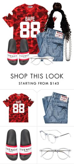 """Stretch My Bandz x Pnb Rock🎈💰"" by ssophiiia ❤ liked on Polyvore featuring A BATHING APE, True Religion, Givenchy, Wildfox and Topshop"