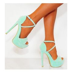 Ladies Mint Green Strappy Sandals Platforms High Heels (43 AUD) ❤ liked on Polyvore featuring shoes, sandals, heels, strappy platform sandals, platform shoes, strappy high heel sandals, strap high heel sandals and high heel sandals