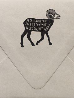 Big Horn Sheep Return Address Custom Stamp  | Sycamore Street Press