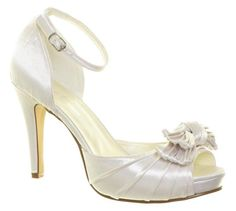 Ivory Wedding Shoes Bow & Ankle Strap