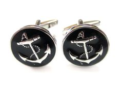 Black Anchor Cufflinks. Kiola Designs presents: The Black Anchor Cufflinks. The Black Anchor is 5/8 inch wide. Comes in a stylish black cuff link gift box. Free domestic shipping within the US.