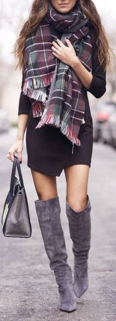 Casual winter chic outfit with gray suede knee high boots, black dress and plaid scarf
