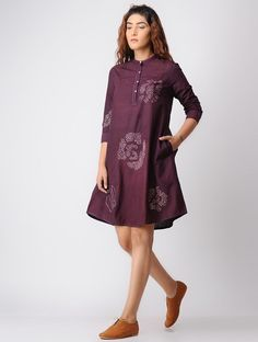 Buy / ELEVEN ELEVEN Purple Shibori Khadi Cotton Dress online in India at best price. Kurti Patterns, Blouse Patterns, Western Dresses, Western Outfits, Stylish Dresses, Fashion Dresses, Women's Fashion, Kurti With Jeans, Cotton Dresses Online