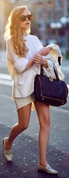 Paper Denim & Cloth White Sleeve And Side Slits Chic Sweater by Kayture