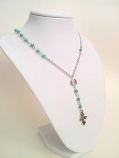 Turquoise Rosary Necklace Silver   Real by divinitycollection, $25.00