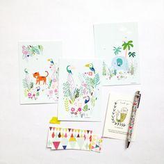 Cartes 3 illustrations jungle un tigre des par mademoiselleyo